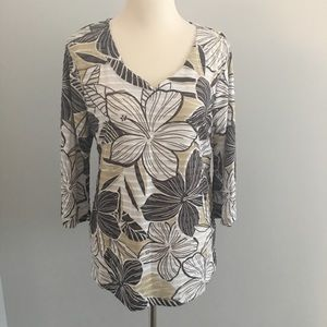 Women's Onque Floral Textured Tunic Top Size L NEW